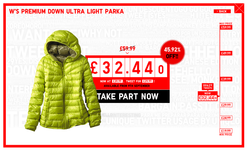 Uniqlo Lucky Counter campaign which discounted the price of products the more customers Tweeted about them