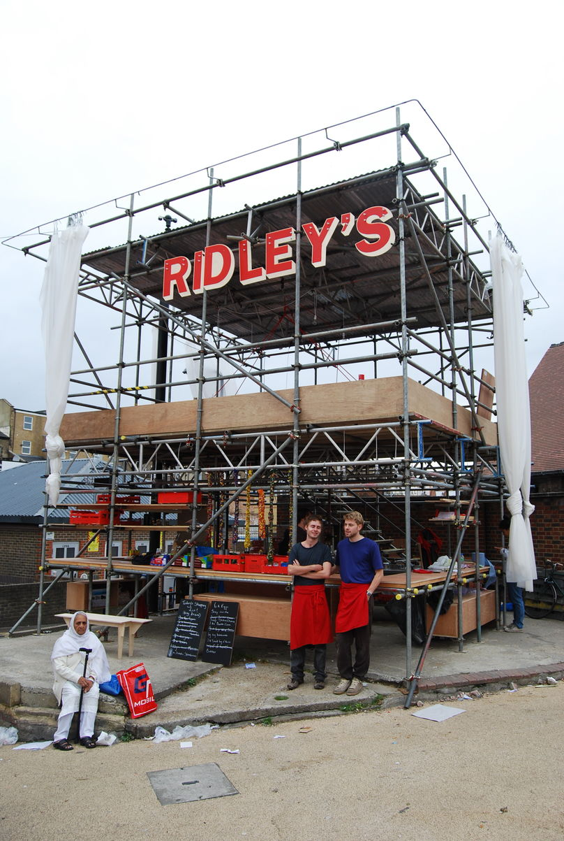 Ridleys pop-up restaurant which used food leftover from the daily market for the evening restaurant, London