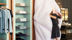 Soft touch: Clothing displayed on foam shelves