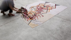 Wood work: Coloured rugs double as DIY sculptures