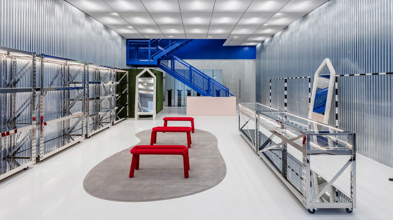 Off-White's flagship store is a fulfilment centre and a multipurpose events space designed by Virgil Abloh and AMO Design, Miami