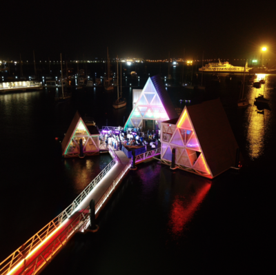 Floating Music Hub by NLÉ, Cape Verde