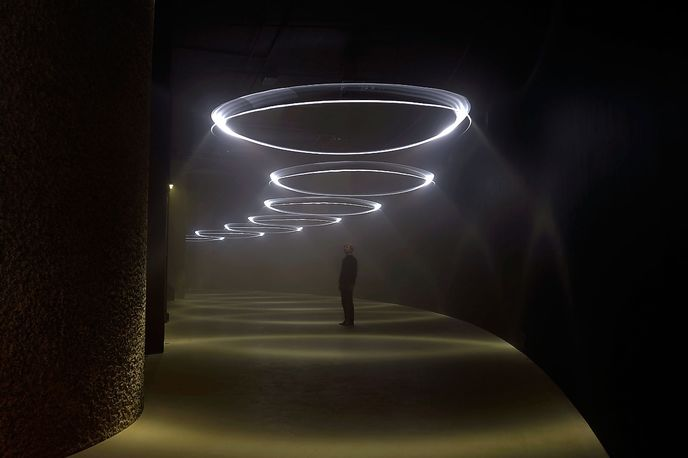 Momentum installation at the Barbican Centre by United Visual Artists