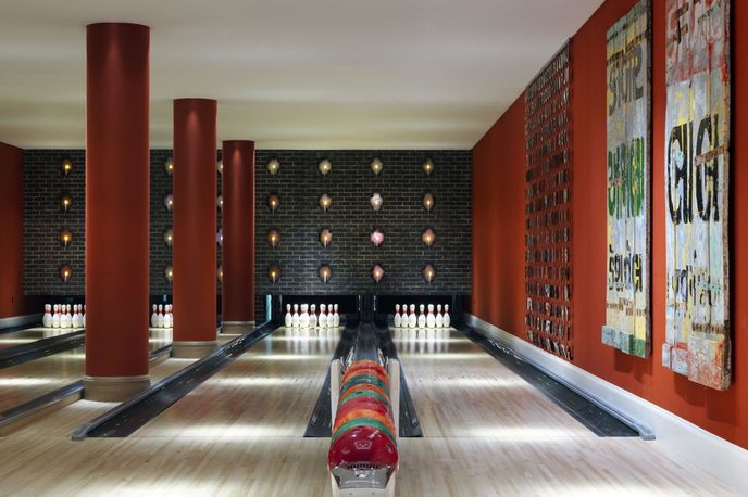 Bowling alley at The Ham Yard Hotel