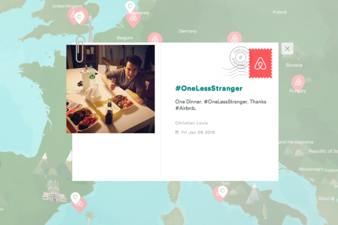 Air bnb interactive map,  #Onelessstranger campaign