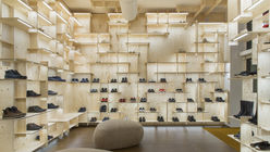 Square play: Architect kits out store with plywood shelves as disrupted grid