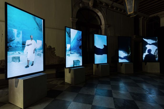 Installation view of Stones Against Diamonds by Isaac Julien created for Rolls-Royce, Venice Biennale