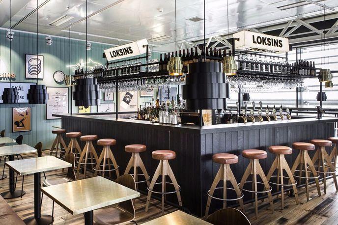 Loskins Bar at Keflavik International Airport designed by Karlssonwilker and HAF Studios, Reykjavik