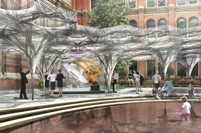 Render of the Elytra Filament Pavilion by architects Achim Menges and Moritz Dörstelmann at the V&A, London