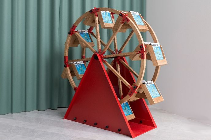 The Wheel magazine rack by Vladimir Kagan and H Furniture at Wallpaper* Handmade, Milan