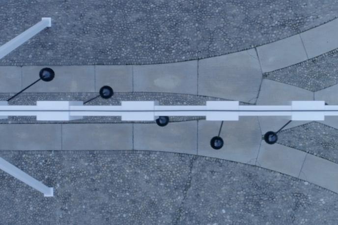 Sonic Pendulum by Yuri Suzuki at Audi City Lab, Milan