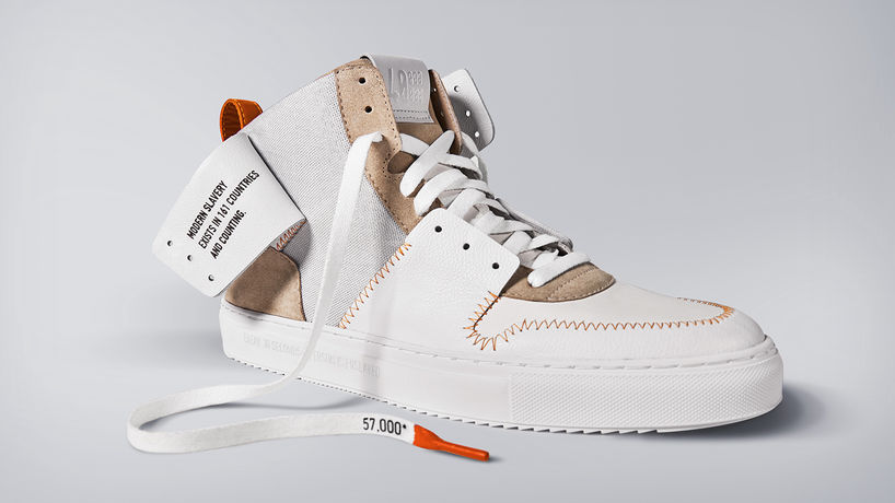 Unbox the Truth by Thomson Reuters Foundation, shoes designed by The Show Surgeon.