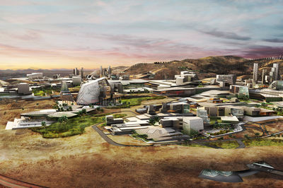 Blockchain city renderings by Ehrlich Yanai Rhee Chaney Architects and Tom Wiscombe Architecture, Nevada