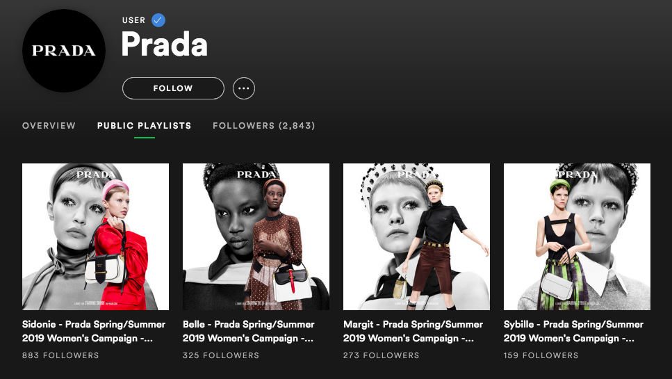LSN : News : Prada's new brand touchpoint is a Spotify channel
