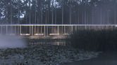 This restaurant weaves through a forest in rural China