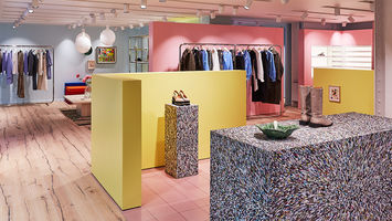 Ganni's first UK store features upcycled interiors