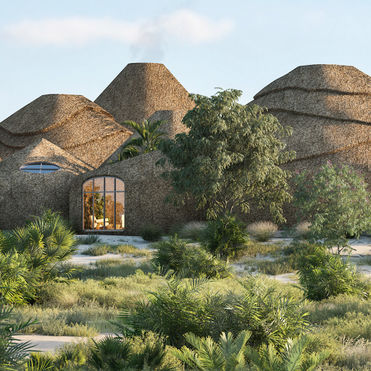 A luxury eco-resort made using 3D-printed sand technology