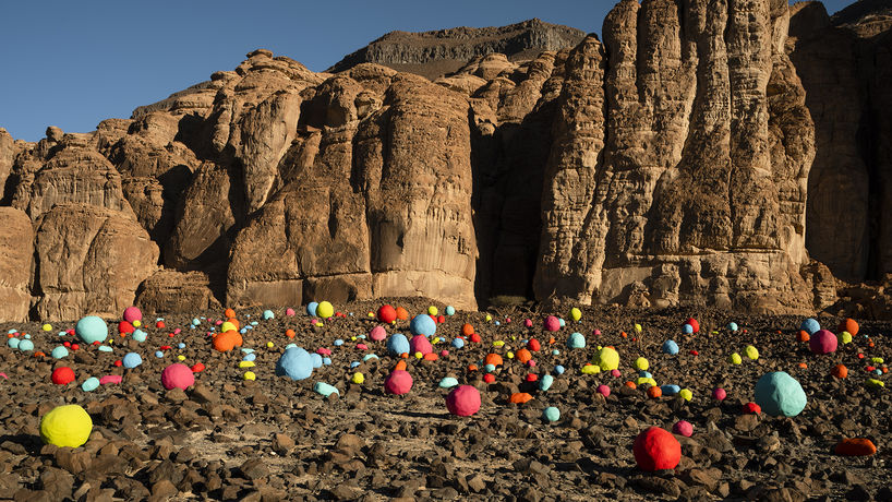 Falling Stones Garden by  Mohammed Ahmed Ibrahim at Desert X Alula 2020, Saudi Arabia. Photography by Lance Gerber