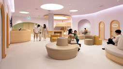 A pastel-hued, child-friendly hospital