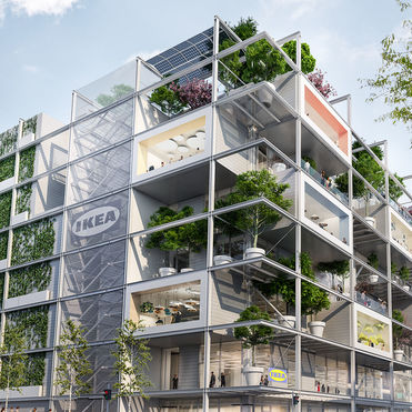 Ikea opts for green over blue in its car-free store