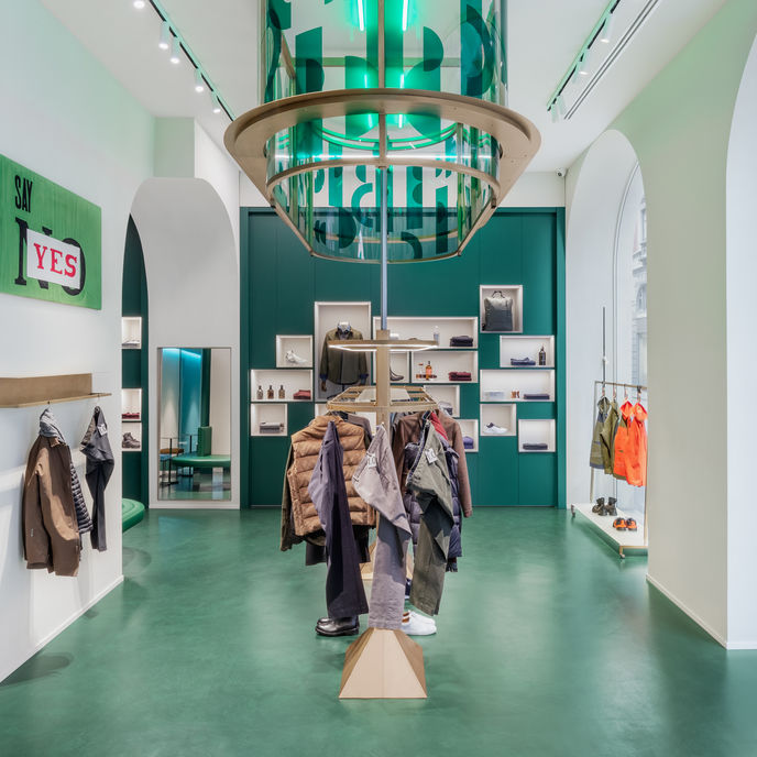 Slowear18 by Slowear, Milan, an integrated concept store merging retail, theatrics and a bar experience for better customer service and connection
