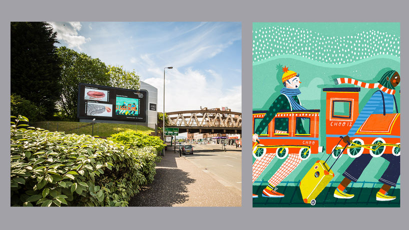 Glasgow billboard photographed by Fraser Milne, @frasermilnephotography & key artwork by Hannah Riordan, @hannahriordan_illustration